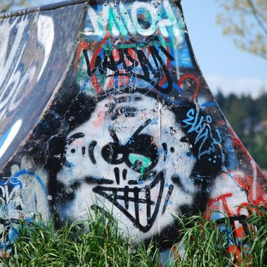 FRIENDY FACED GRAFITTI at Parksville  Skate Board Park - May 2015