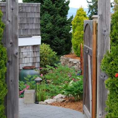 GARDEN ENTRANCE - Oceanside`s annual Mother`s Day Garden tour on Vancouver Island - May 2015