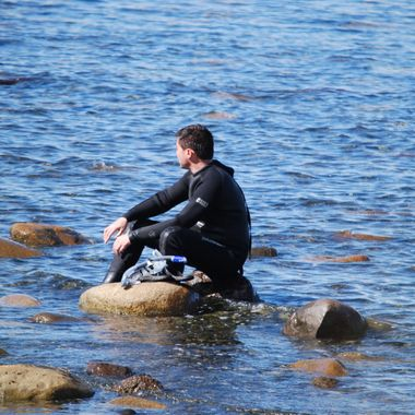 SCUBA MAN on Qualicum Beach, B.C. on Vancouver Island, CANADA - Summer of 2015