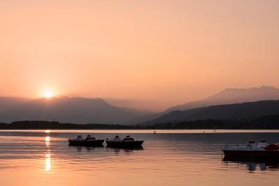 Sunset at Viverone'S lake