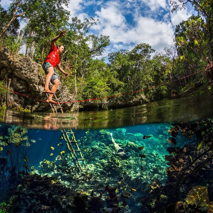Cenote slacklining by anhede - Above Or Below Photo Contest