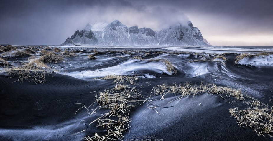 Winter in Stokkness in the beach with black sand and the majestic Vestrahorn.  Sony α7II, Sony 1...