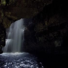 Waterfall Inside Smoo Cave in the Scottish Highlands