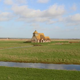 The tiny medieval Fairfield Church Romney Marsh  kent UK 23/12/15 photo Andy jefferies