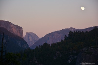 Moon over Half Dome and El Capitan