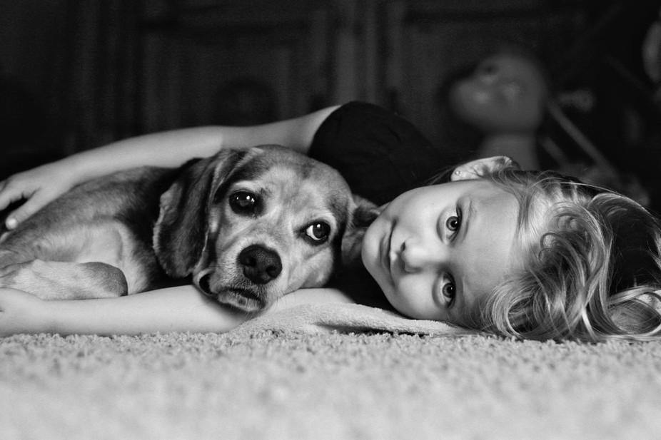 This is my oldest daughter and our beagle Hunter.  He was always her guard dog.
