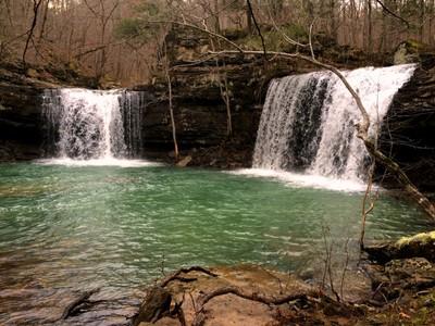 Twin Falls of Devils Fork Richland Creek Wilderness Arkansas