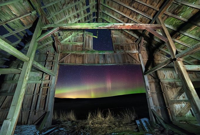 Northern Lights from the inside of an old barn by FranciscoBAguilar - Farms And Barns Photo Contest