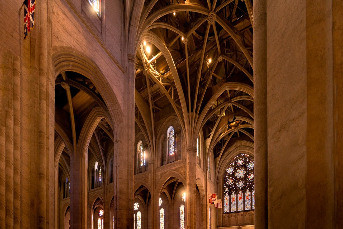 This photograph was captured at Grace Cathedral in Nob Hill, San Francisco, California. Grace Cathedral is surrounded by French influence; the twin towers, high roof, and curved top found in Notre Dame of Paris, and the magnificent glass Sainte-Chapelle in Paris are here as well. I love the intersecting ribs and arches that are demonstrated in this architecture.