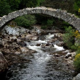 The oldest stone bridge in the Scottish Highlands is called The Old Packhorse Bridge  in Carrbridge.