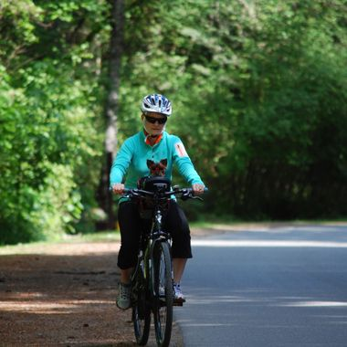 Bike Riding Lady with her little Yorkie in Sunglasses - May 2015 at Rathtrevor Park & Campgrounds