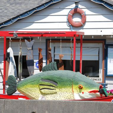 Sandbar Cafe & Art Gallery, Fresh SHCROD fish & chips served lol - was a joke between the girls, Shrimp & Cod, but then we discovered that SCHROD is COD! lol - May 26, 2015 Sold a Starfish Canvas at this restaurant :)
