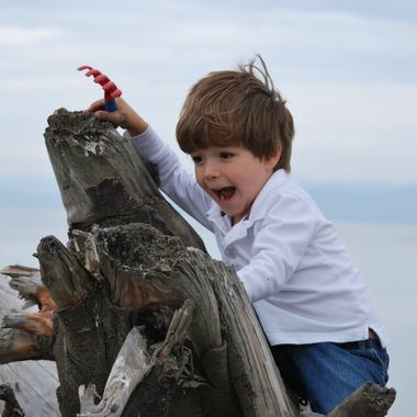 TOP OF THE WORLD - Kason at Parksville Park beach with Grampa & Gramma - 17 Sept 2014