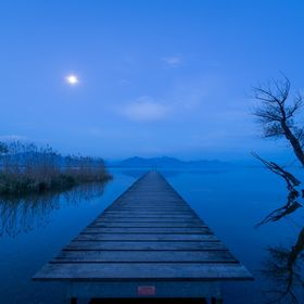 Chiemsee at night with full moon