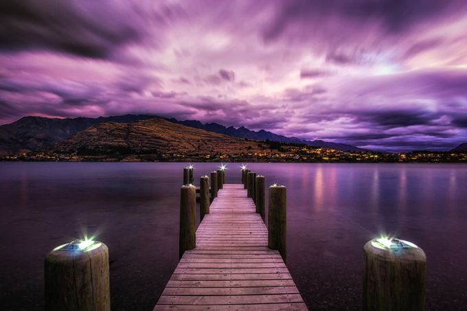Dreamy Night over Lake Wakatipu by aaronchoiphoto - Boardwalks Photo Contest