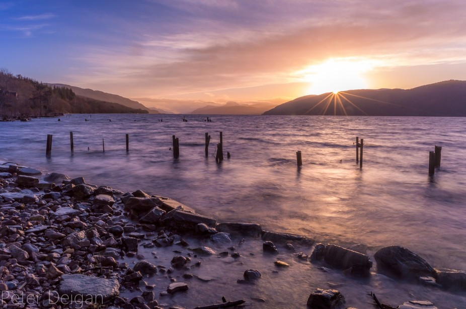 taken during a perfect sunset in Loch Ness, Scotland