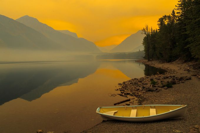 Yellow Sunset on Lake McDonald by tomhausler - Ships And Boats Photo Contest