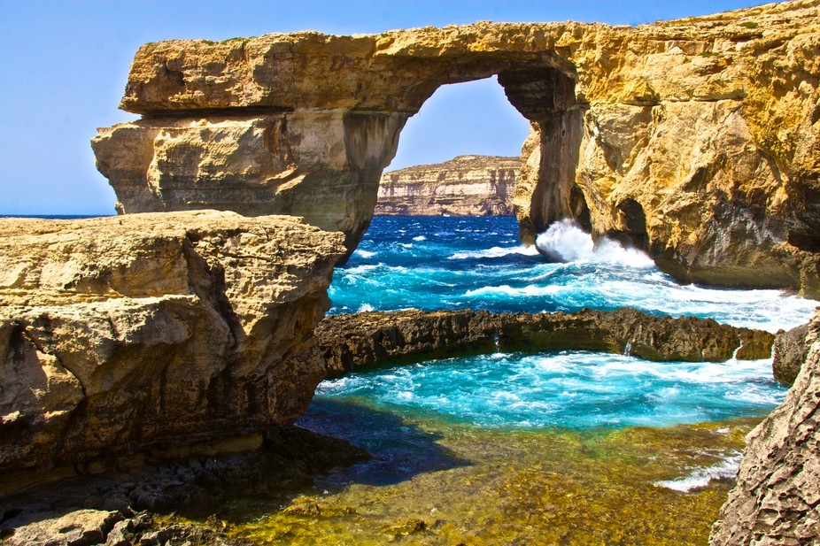 Located on the Island of Gozo - The Blue Window is a tourist attraction.