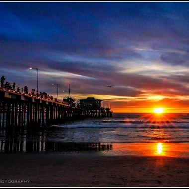 Sunset at Santa Monica Pier, CA