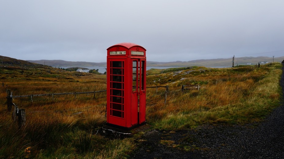 Exploring the Outer Hebrides (Island of Great Bernera) A phone booth in the middle of Nowhere. Be...