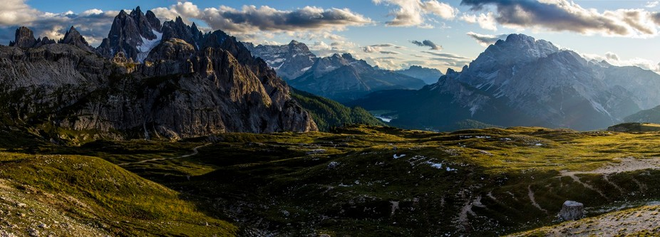 Taken in the warm late afternoon sun, this five image panorama shows the view from Rifugio Auronz...