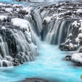Long lens image of Brúarfoss, on the Brúará River, near Brekkuskógur, Iceland.  Suðerland, Iceland January 29, 2016  This is an HDR image ...