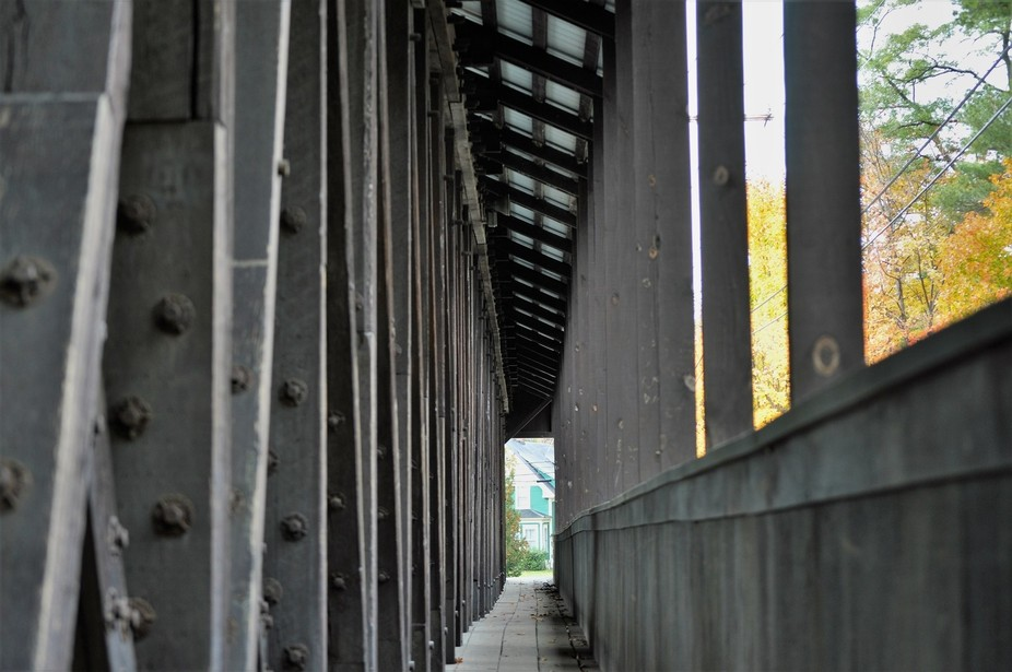 This is the walkway running along side one of the few covered bridges left in NH. When cars drive...