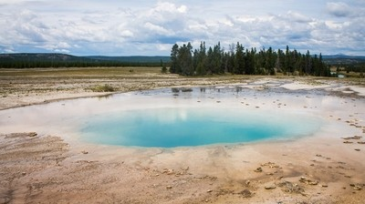 Blue pool in Yellowstone National Park, USA