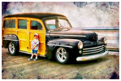 Vintage Car with a Kid