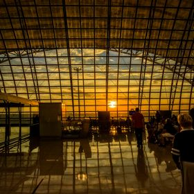 Early morning sunlight shining in this photo from Suvarnabhumi Airport, Bangkok, Thailand