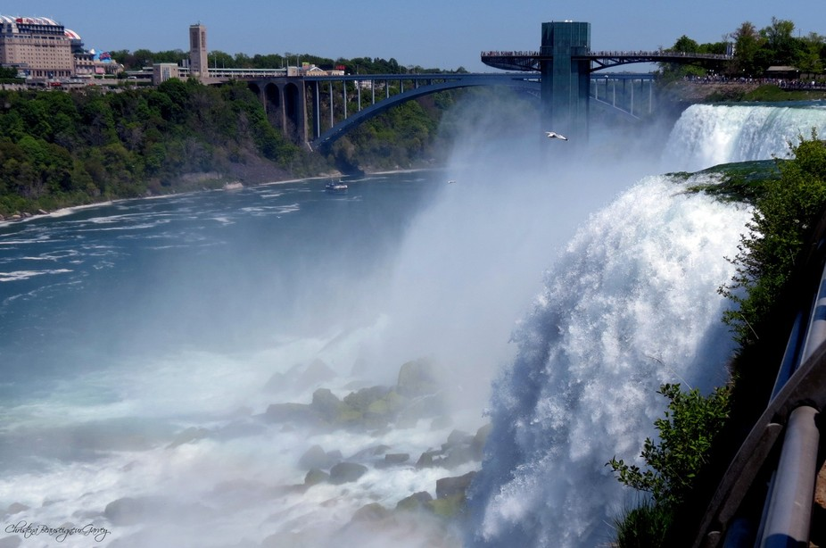 View of the American Falls, Observation Deck and Rainbow Bridge.