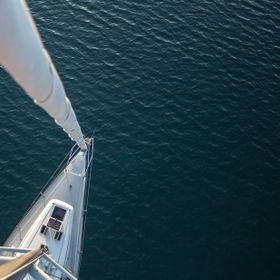 Took a photo from the top of the mast of a 42 feet sailboat.