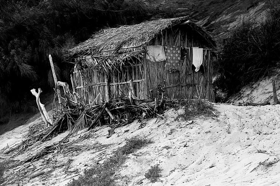 A small abandoned beach house, Mozambique coast. Colours faded.