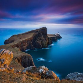 Last sun rays illuminating the famous Neist Point cliffs. We stayed at this spot for more then an hour to get at least one shot with the sun brea...