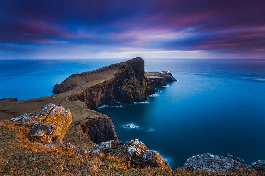 Last sun rays illuminating the famous Neist Point cliffs. We stayed at this spot for more then an...