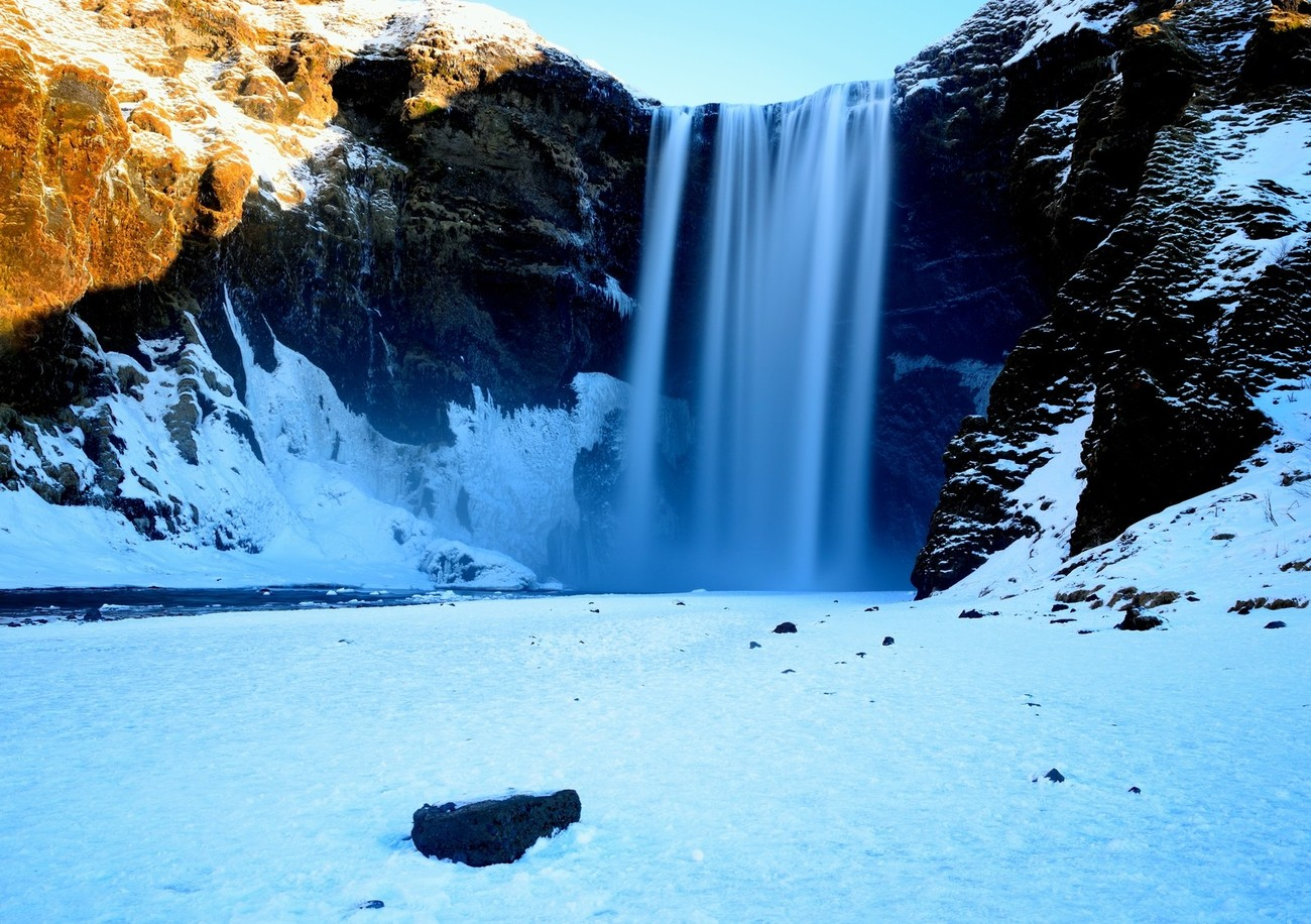 62 metre wall of water, like a curtain, Iceland.