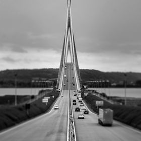 Taken in the middle of the road at the Pont de Normandie (France).