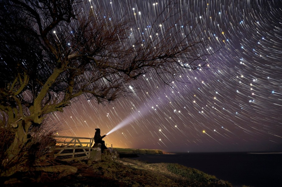 to create this startrail picture were required 90 photos of 30 seconds exposure, each.  the 90 ph...