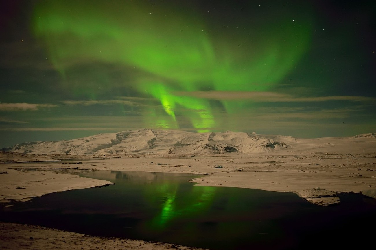 Northern Lights at Jokulsarlon Glacier Lagoon.