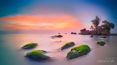 Sunset at Dinh Cau Rock ( Cau Temple )