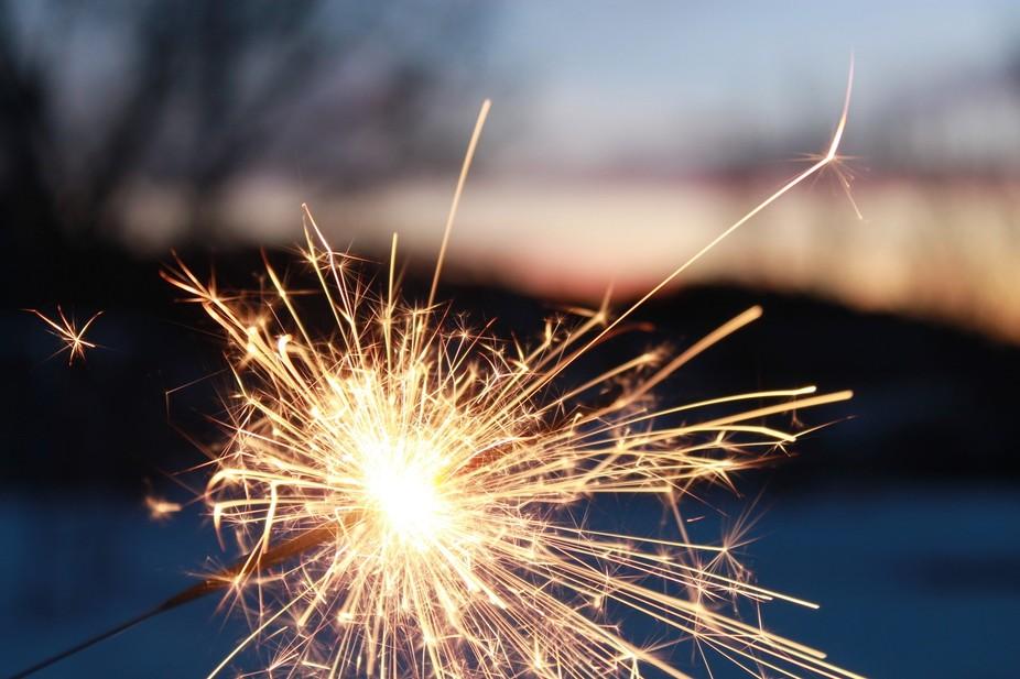 Golden sparkler at evening