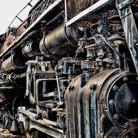 An old steam engine awaits restoration at the Baltimore and Ohio Railroad Museum in Baltimore, Maryland.