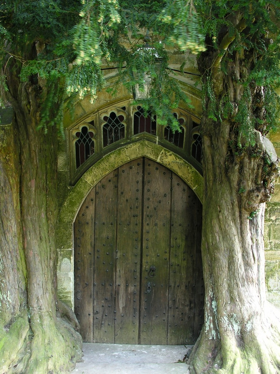 A door on the back of a church in the Cotswolds of england.