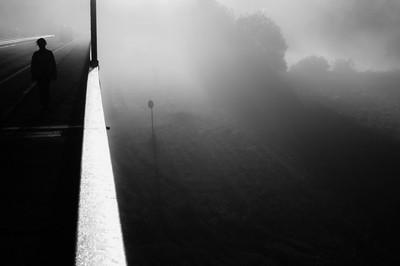 foggy morning on a bridge