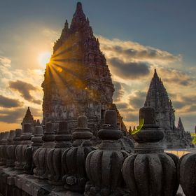 Prambanan temple at sunset time... The temple compound, a UNESCO World Heritage Site, is the largest Hindu temple site in Indonesia, and one of t...