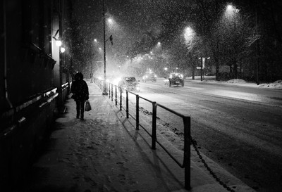 snowstorm at night