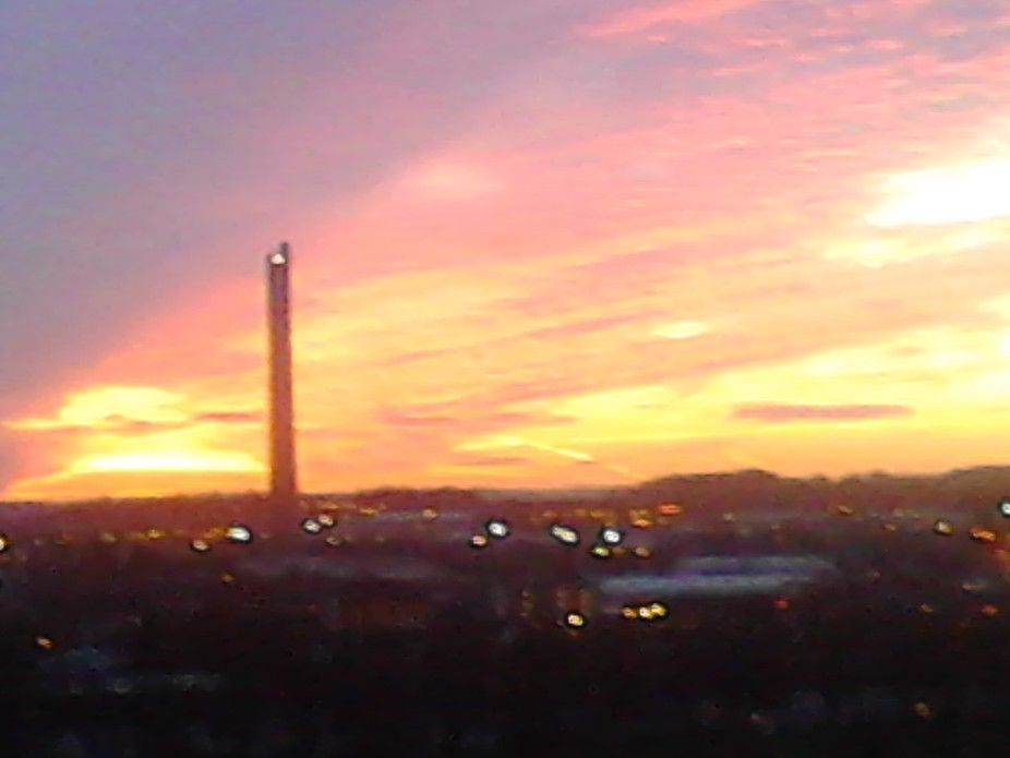 sunset looking towards the abseil tower in Northampton, UK