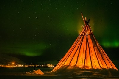 Breathing Tepee under the Northern Lights