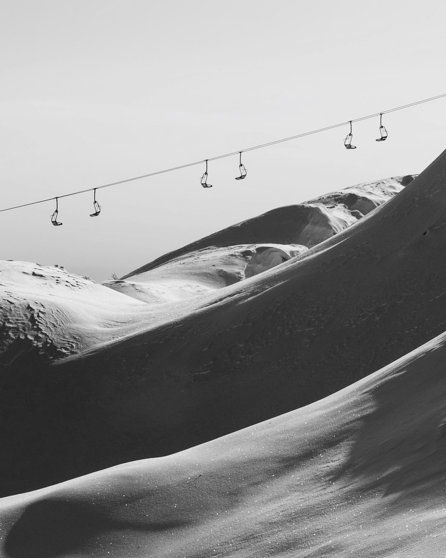 Ski lift  by brittabia - Landscapes In Black And White Photo Contest