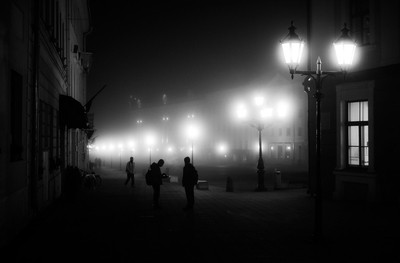 town hall square in fog